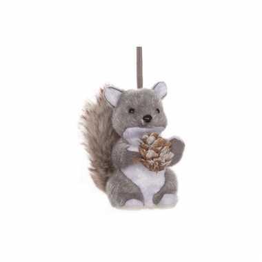 Kerstboom  Kerst Hangdecoratie grijze eekhoorn 12 cm versiering