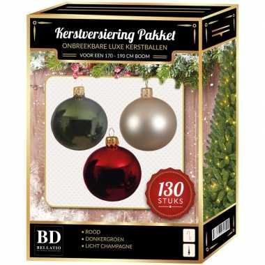 Kerstboom kerstbal en piek set 130x champagne-donkergroen-rood voor 180 cm versiering