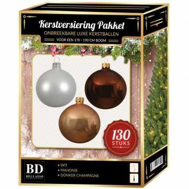 Kerstboom kerstbal en piek set 130x champagne-wit-bruin voor 180 cm boom versiering