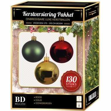 Kerstboom kerstbal en piek set 130x goud-donkergroen-rood voor 180 cm versiering