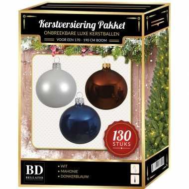 Kerstboom kerstbal en piek set 130x wit-bruin-blauw voor 180 cm boom versiering