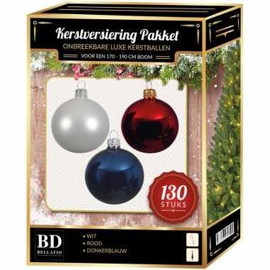 Kerstboom kerstbal en piek set 130x wit-donkerblauw-rood voor 180 cm boom versiering