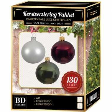 Kerstboom kerstbal en piek set 130x wit-donkerrood-groen voor 180 cm boom versiering