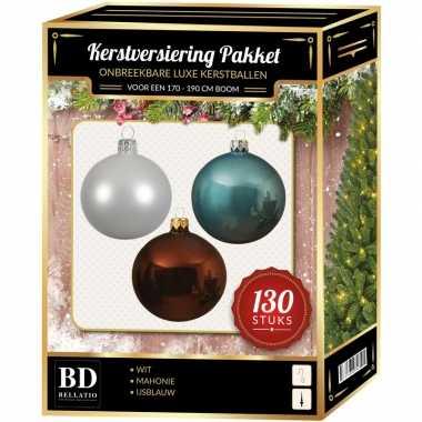 Kerstboom kerstbal en piek set 130x wit-mahonie-blauw voor 180 cm boom versiering