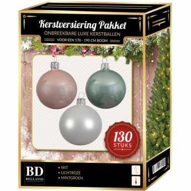 Kerstboom kerstbal en piek set 130x wit-mintgroen-lichtroze voor 180 cm bo versiering