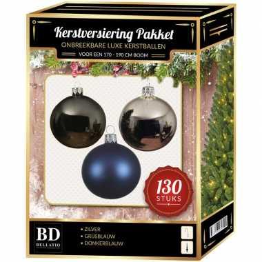 Kerstboom kerstbal en piek set 130x zilver-grijsblauw-blauw voor 180 cm bo versiering
