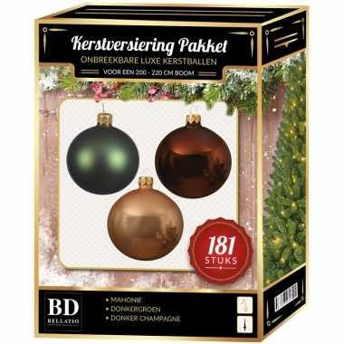 Kerstboom kerstbal en piek set 181x champagne-bruin-groen voor 210 cm boom versiering
