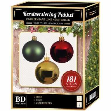 Kerstboom kerstbal en piek set 181x goud-groen-rood voor 210 cm boom versiering