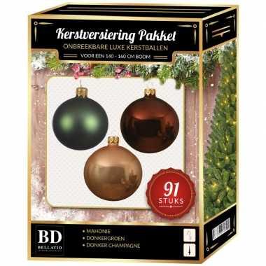 Kerstboom kerstbal en piek set 91x champagne-bruin-groen voor 150 cm boom versiering