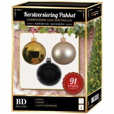 Kerstboom kerstbal en piek set 91x goud-champagne-zwart voor 150 cm boom versiering