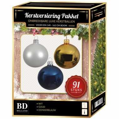 Kerstboom kerstbal en piek set 91x goud-wit-donkerblauw voor 150 cm boom versiering