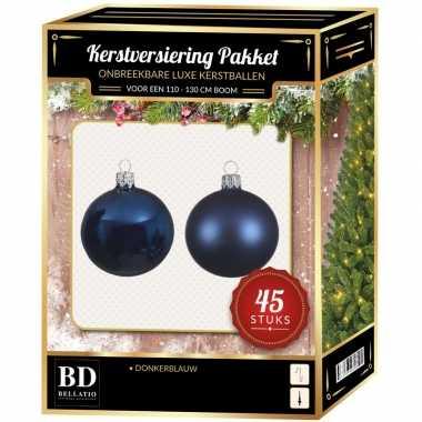 Kerstboom kerstbal en ster piek set 45x donkerblauw voor 120 cm boom versiering