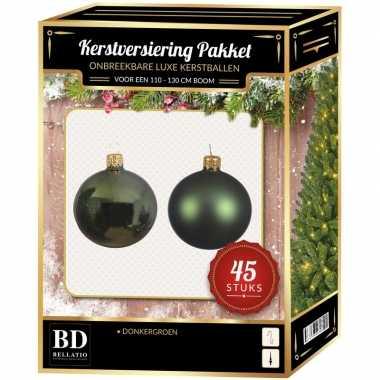 Kerstboom kerstbal en ster piek set 45x donkergroen voor 120 cm boom versiering