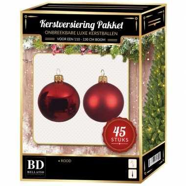 Kerstboom kerstbal en ster piek set 45x kerst rood voor 120 cm boom versiering