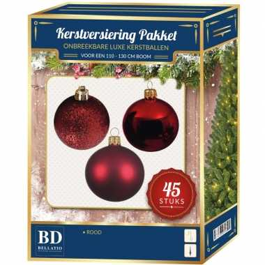 Kerstboom kerstbal en ster piek set 45x rood voor 120 cm boom versiering