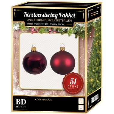 Kerstboom kerstbal en ster piek set 51x donkerrood voor 120 cm boom versiering