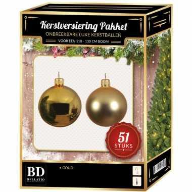 Kerstboom kerstbal en ster piek set 51x goud voor 120 cm boom versiering