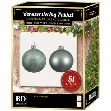 Kerstboom kerstbal en ster piek set 51x mintgroen voor 120 cm boom versiering