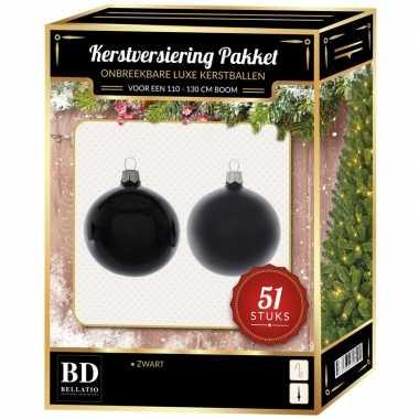 Kerstboom kerstbal en ster piek set 51x zwart voor 120 cm boom versiering
