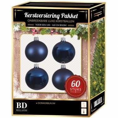 Kerstboom kerstbal en ster piek set 60x donkerblauw voor 150 cm boom versiering