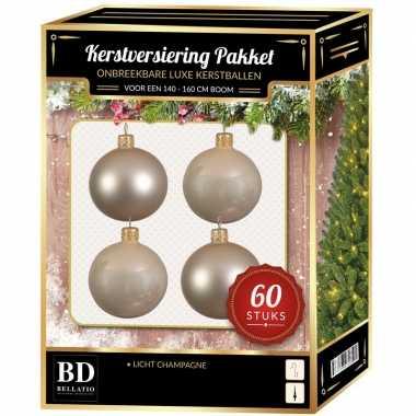 Kerstboom kerstbal en ster piek set 60x licht parel/champagne voor 150 cm versiering