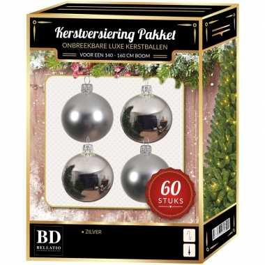 Kerstboom kerstbal en ster piek set 60x zilver voor 150 cm boom versiering