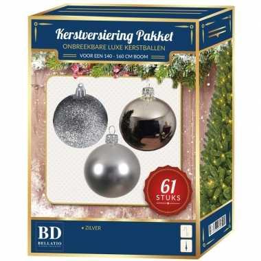 Kerstboom kerstbal en ster piek set 61x zilver voor 150 cm boom versiering
