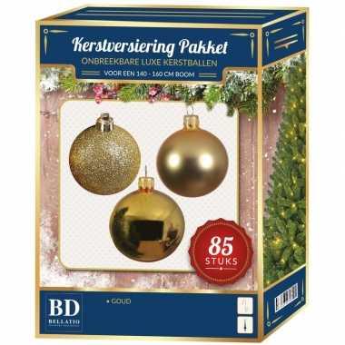 Kerstboom kerstbal en ster piek set 85x goud voor 180 cm boom versiering
