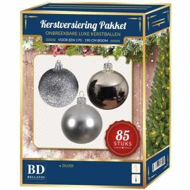 Kerstboom kerstbal en ster piek set 85x zilver voor 180 cm boom versiering