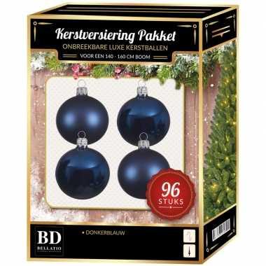 Kerstboom kerstbal en ster piek set 96x donkerblauw voor 180 cm boom versiering