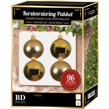 Kerstboom kerstbal en ster piek set 96x goud voor 180 cm boom versiering