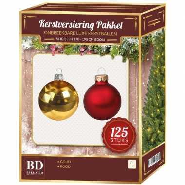 Kerstboom kerstballen en piek set 125-dlg kunststof -180 cm boom rood/goud versiering
