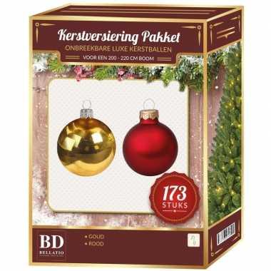 Kerstboom kerstballen en piek set 173-dlg kunststof- 210 cm boom rood/goud versiering