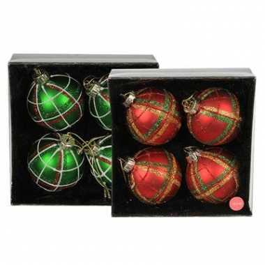 Kerstboom kerstballen met print 6 cm 4 stuks versiering