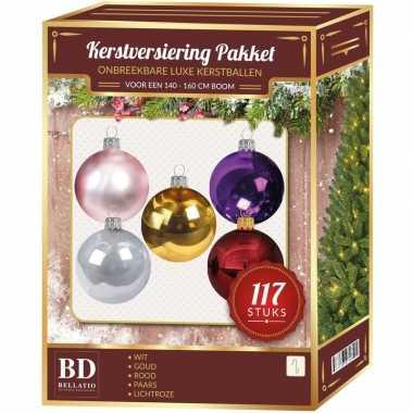 Kerstboom kerstballen set kunststof 117-delig voor 150 cm boom gekleurd versiering