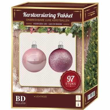 Kerstboom kerstballen set kunststof 97-delig voor 150 cm boom lichtroze versiering