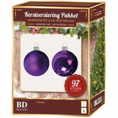 Kerstboom kerstballen set kunststof 97-delig voor 150 cm boom paars tinten versiering