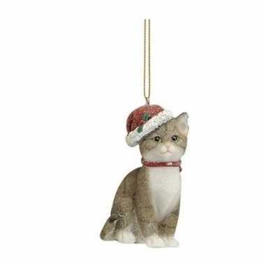 Kerstboom kersthangers grijze katten met kerstmuts 9 cm kerstversiering