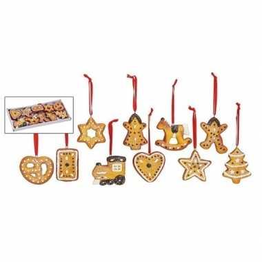 Kerstboom kersthangers set van 10 stuks gingerbread / kerstkoekjes ornamenten 5 cm versiering