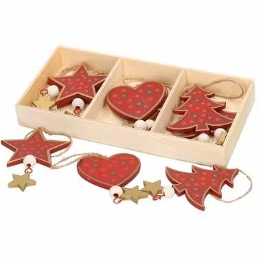 Kerstboom kersthangers set van 6x rode houten ornamenten 10 cm versiering