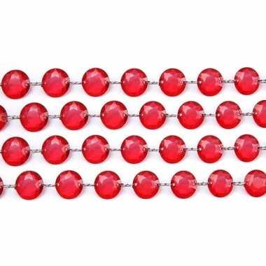 Kerstboom tafeldecoratie rood kristal slinger versiering