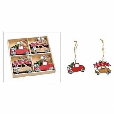 Kersthanger set van 8x houten auto hangers 6 x 5 cm kerstboomversiering