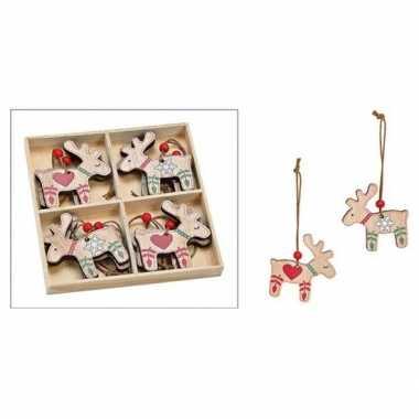 Kersthanger set van 8x houten rendieren hangers 5 x 6 cm kerstboomversiering