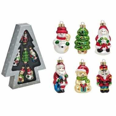 Set van 6 stuks kersthangers figuurtjes 8 cm kerstboomversiering
