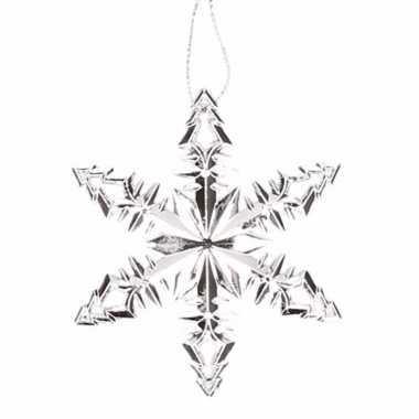 Zilverkleurige kerstboom hanger ijsbloem versiering
