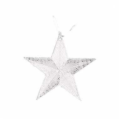 Zilverkleurige kerstboom hanger ster versiering