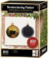Kerstboom 100 stuks kerstballen mix goud zwart voor 150 cm boom versiering