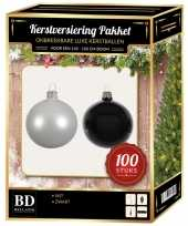 Kerstboom 100 stuks kerstballen mix wit zwart voor 150 cm boom versiering