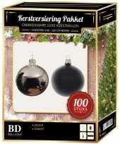 Kerstboom 100 stuks kerstballen mix zilver zwart voor 150 cm boom versiering