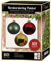 Kerstboom 101 stuks kerstballen mix goud mint donkerrood voor 150 cm boom versiering